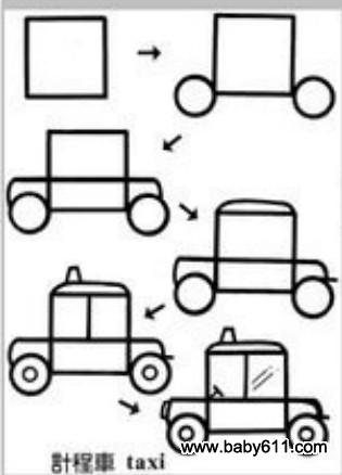 儿童益智简笔画:计程车 出租车 taxi图片