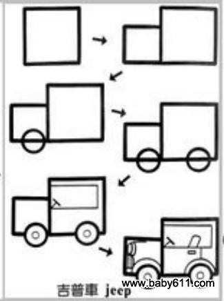 儿童益智简笔画:吉普车 jeep