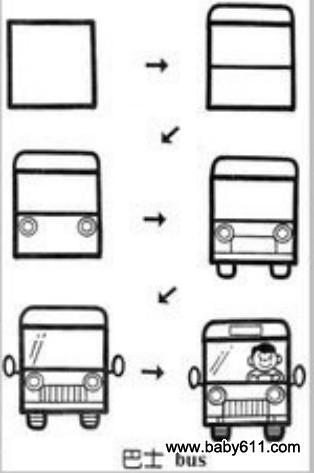 儿童益智简笔画:巴士 bus