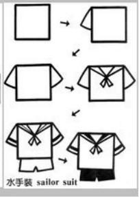 儿童益智简笔画:水手服装 sailor suit