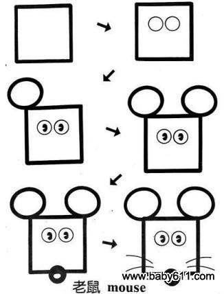 儿童益智简笔画:老鼠 mouse
