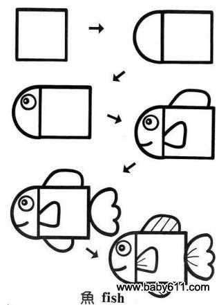 儿童益智简笔画:鱼 fish