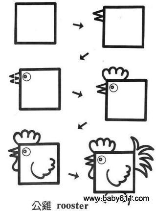 儿童益智简笔画:公鸡 rooster