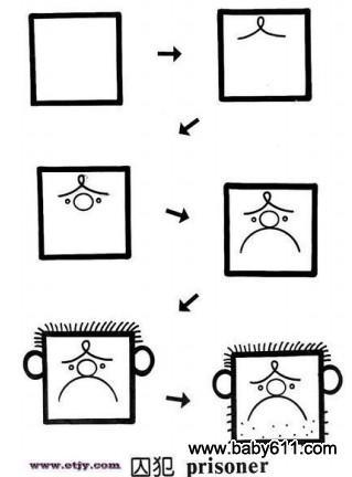 儿童益智简笔画:囚犯 prisoner