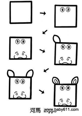 儿童益智简笔画:河马 hippo