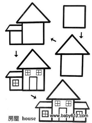 儿童益智简笔画:房屋 house