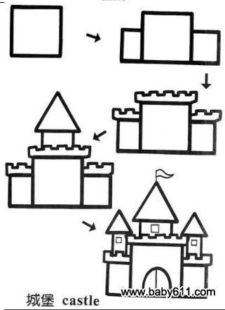 儿童益智简笔画:城堡 castle
