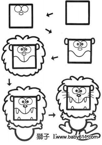 简笔画简单画 正方形简笔画22 军人 狮子