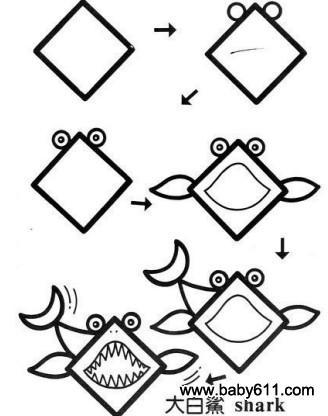 儿童益智简笔画:大白鲨 shark