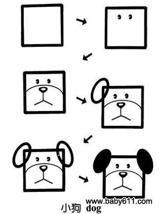 儿童益智简笔画:小狗 dog