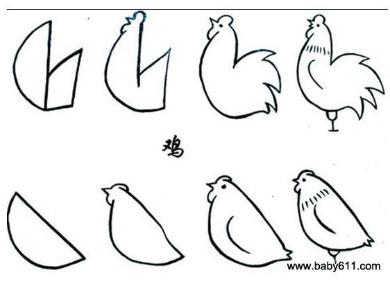 幼儿简笔画:母鸡