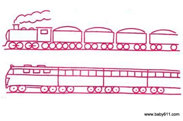 儿童火车简笔画步骤大全