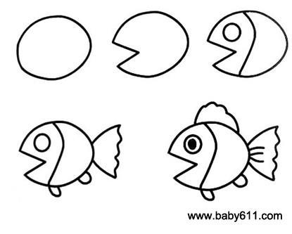 幼儿简笔画 小鱼