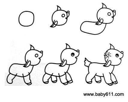 儿童简笔画:犀牛 儿童简笔画:狗