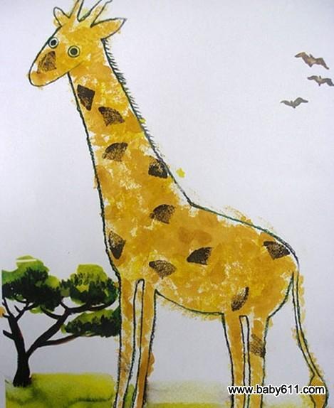 幼儿园大班美术造型教案:可爱的长颈鹿