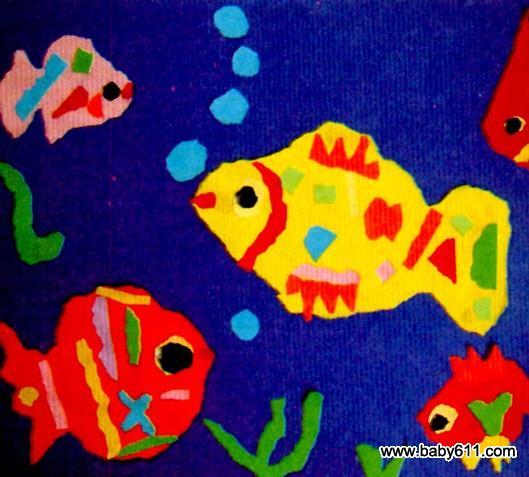 复习巩固撕点状物,条状物的经验,启发幼儿用各色纸撕成小块粘贴在海鱼图片