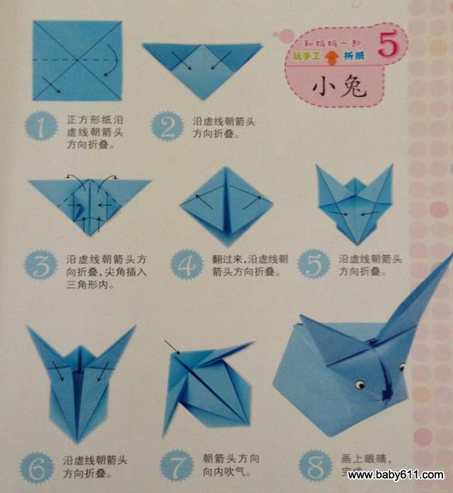幼儿园幼儿手工折纸:小兔图片