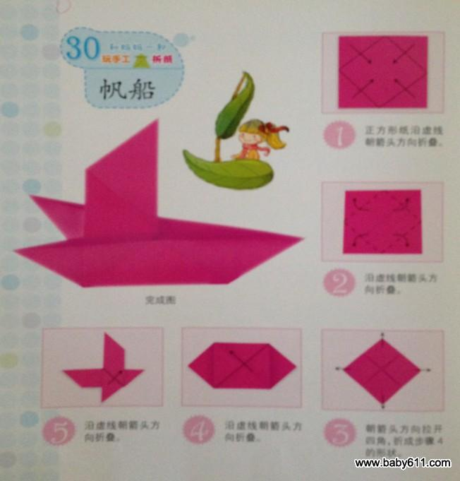 幼儿园幼儿手工折纸:帆船图片