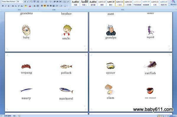 幼儿英语单词卡片word版本