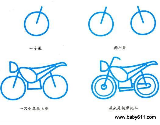 幼儿简笔画:摩托车
