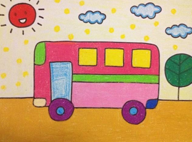 幼儿园儿童画的课程指导与范画欣赏-幼儿绘画作品 公共汽车