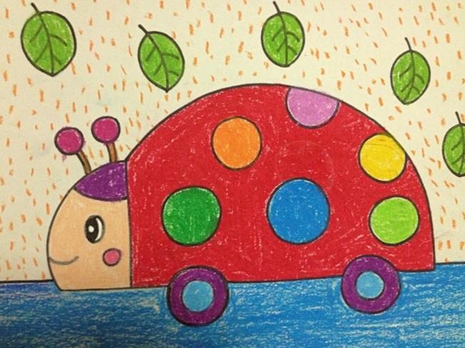 幼儿园大班绘画作品:美丽山村