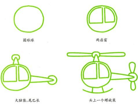 幼儿园简笔画:直升机