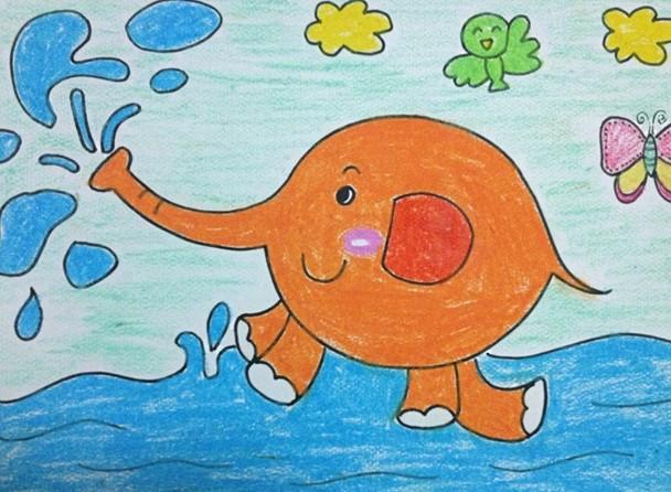 幼儿园儿童画 大象