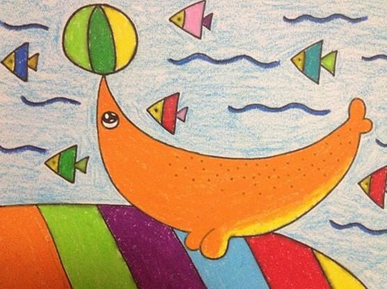 幼儿园幼儿绘画:小海豚