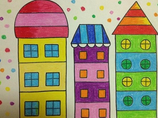 幼儿园大班绘画作品:太阳房子