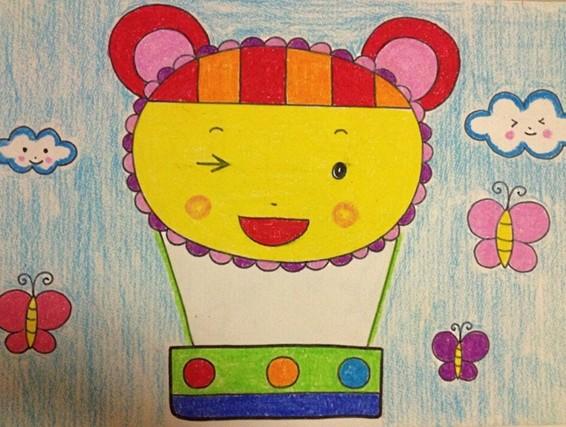 幼儿园幼儿美术作品:可爱的热气球图片