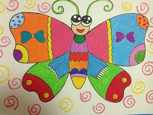 幼儿美术作品:蝴蝶图片