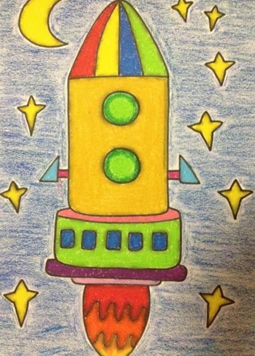幼儿园绘画作品:火箭