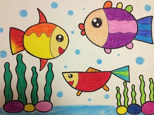 幼儿园幼儿美术绘画作品; 小鱼水中游; 绘画作品-幼儿园幼儿美术绘画