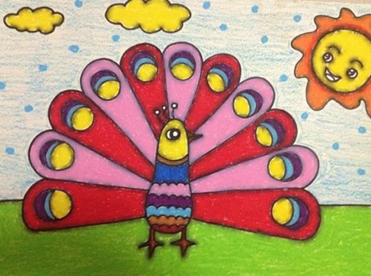 幼儿园教案大全 幼儿园手工技能教案 绘画作品  孔雀开屏
