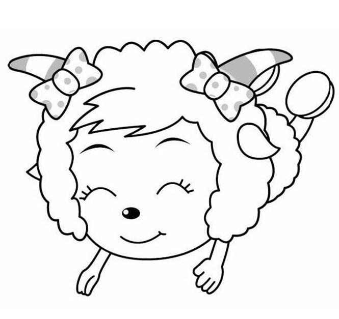 幼儿涂色简笔画 美羊羊图片