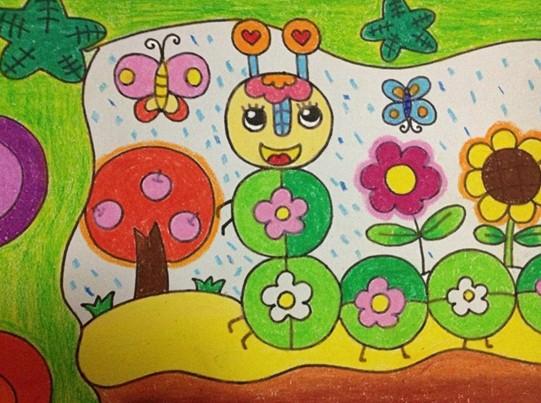 幼儿园幼儿绘画作品:毛毛虫和蝴蝶