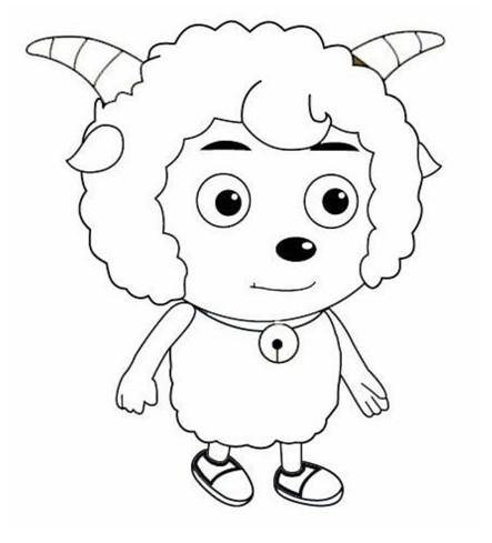 幼儿简笔画涂色卡:喜羊羊(6)