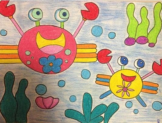 幼儿美术作品:螃蟹 - 绘画作品