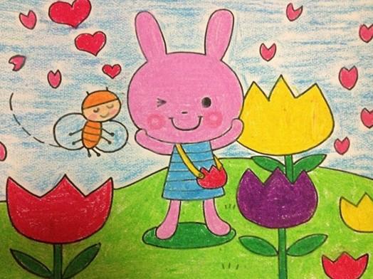 小白兔卡通画;