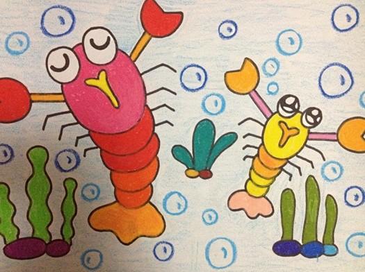 儿童美术作品:海底世界 - 绘画作品