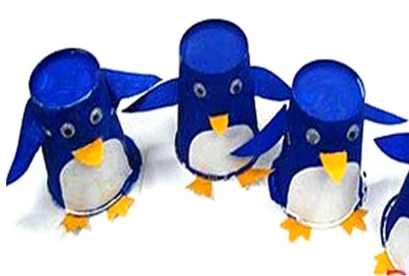 幼儿园中班创意美术:企鹅纸杯画