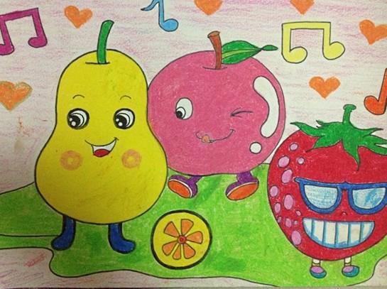 幼儿美术作品:水果家族图片