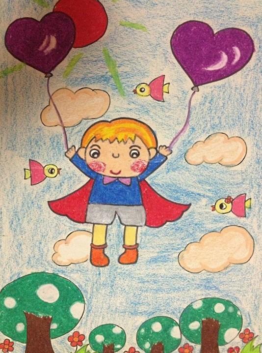 幼儿园幼儿美术作品:飞上蓝天