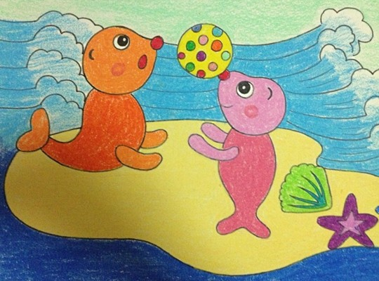 幼儿美术作品:海豚 - 绘画作品
