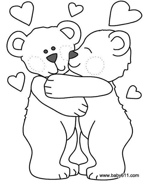 幼儿园手工技能教案 涂色卡    幼儿涂色卡:可爱的两只小熊