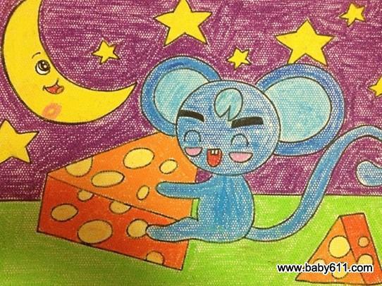 幼儿美术作品:小老鼠偷面包图片
