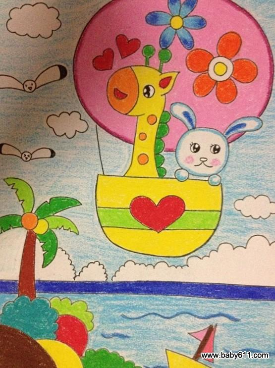 雪豹老虎机游戏单机版:幼儿绘画作品:长颈鹿热气球图片