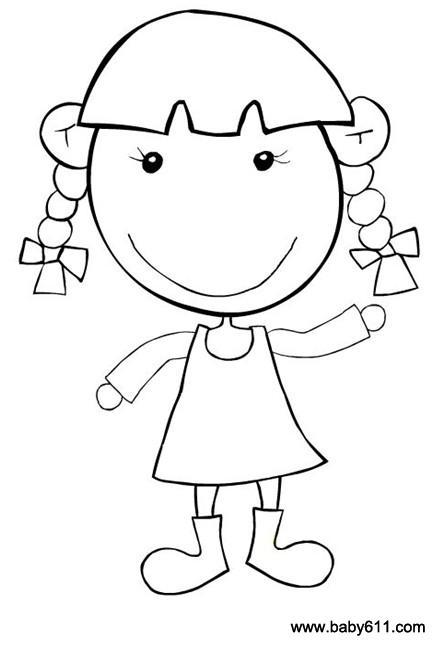 幼儿涂色简笔画:小女孩