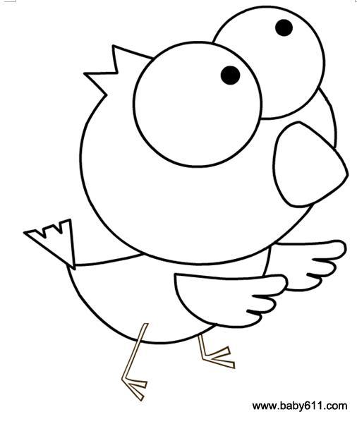 涂色卡  幼儿涂色简笔画:鸟         幼儿涂色简笔画:树林